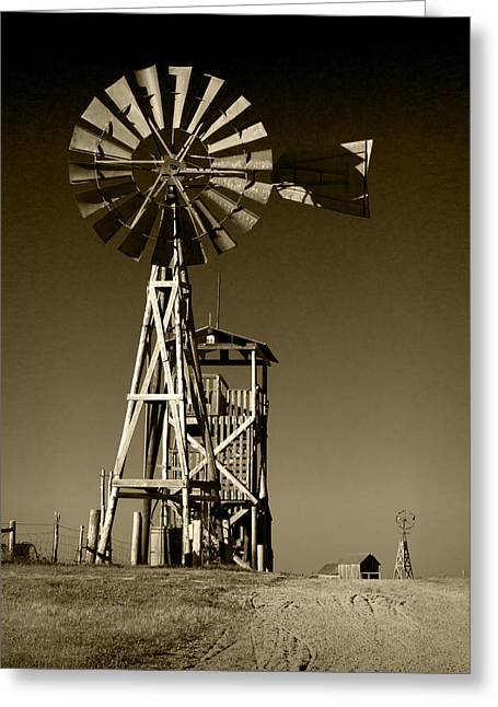 Brown Toned Art Greeting Cards - Sepia Toned Plains Frontier Windmill Greeting Card by Randall Nyhof