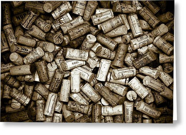 Wine Lovers Greeting Cards - Sepia Wine Corks Greeting Card by Frank Tschakert
