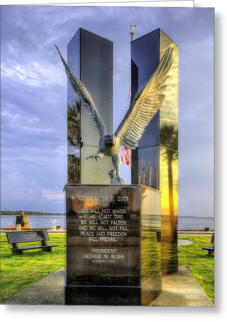 United We Stand Greeting Cards - September 11 Memorial Greeting Card by JC Findley