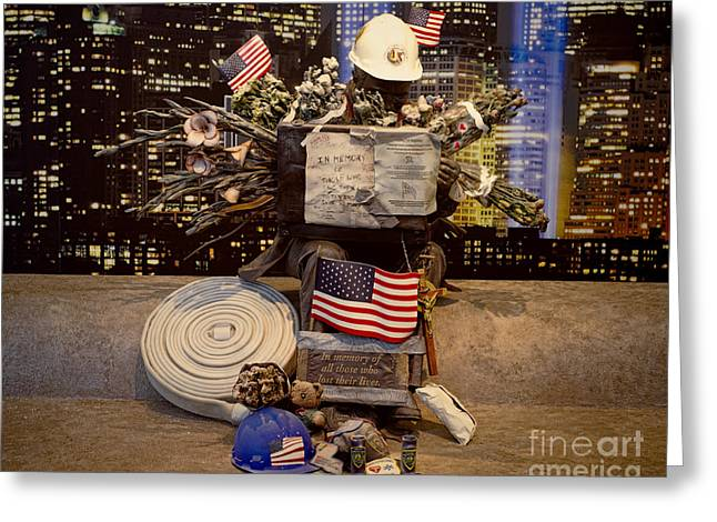 Wtc 11 Greeting Cards - September 11 Memorial Greeting Card by Terry Weaver