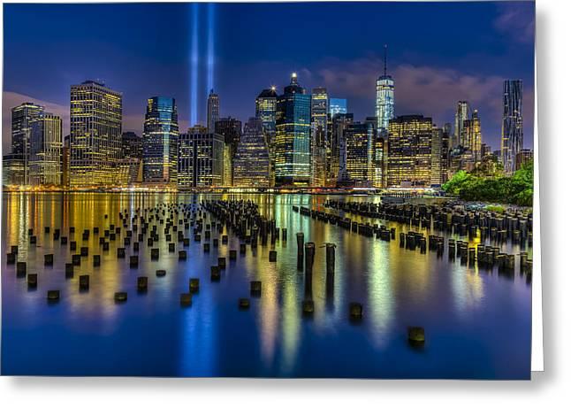 Brooklyn Bridge Park Greeting Cards - September 11 NYC Tribute Greeting Card by Susan Candelario