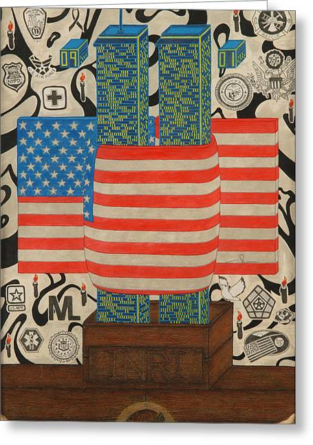 American_flag Greeting Cards - September Greeting Card by Angelo Sena