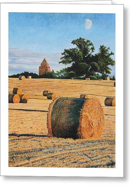 Cornfield Mixed Media Greeting Cards - September Corn Moonrise Greeting Card by Adrian Jones