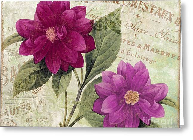 French Script Greeting Cards - September Dahlias Greeting Card by Mindy Sommers