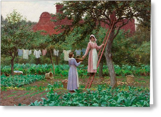 Climbing In Greeting Cards - September Greeting Card by Edmund Blair Leighton