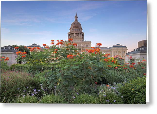 Capitol Flowers Greeting Cards - September Flowers at the State Capitol 1 Greeting Card by Rob Greebon