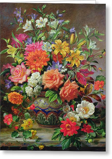 Ceramic Greeting Cards - September Flowers   Symbols of Hope and Joy Greeting Card by Albert Williams