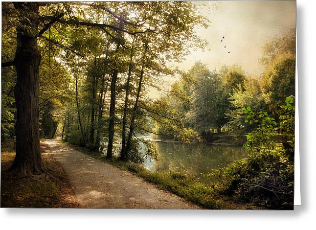Path Greeting Cards - September Reflections  Greeting Card by Jessica Jenney