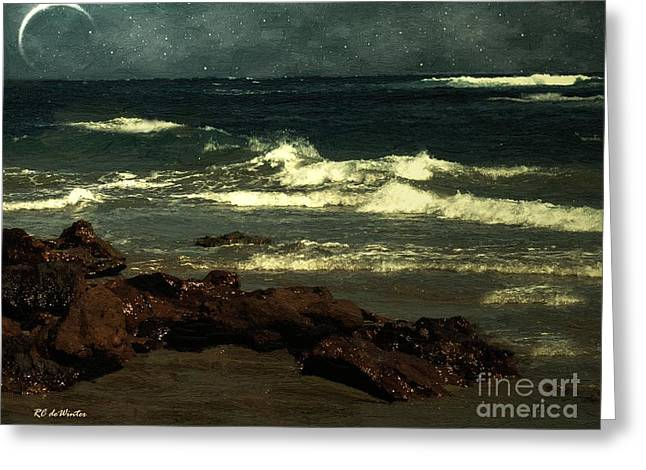 Moon Beach Greeting Cards - September Sea Greeting Card by RC deWinter