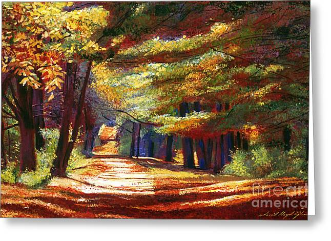 Fallen Leaf Paintings Greeting Cards - September Song Greeting Card by David Lloyd Glover
