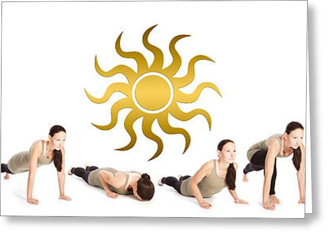 Sequence Of The Sun Salutation Greeting Card by Wolfgang Steiner