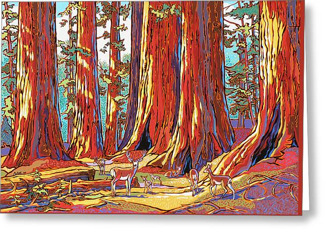 Sequoia Greeting Cards - Sequoia Deer Greeting Card by Nadi Spencer