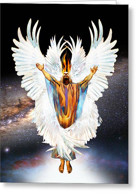 Recently Sold -  - Seraphim Angel Greeting Cards - Seraph Cries Holy Greeting Card by Ron Cantrell