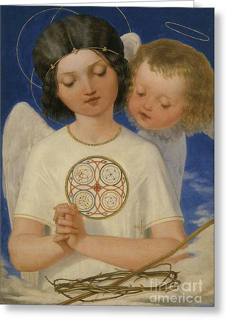 Seraphim Angel Paintings Greeting Cards - Seraphs Watch Greeting Card by Celestial Images
