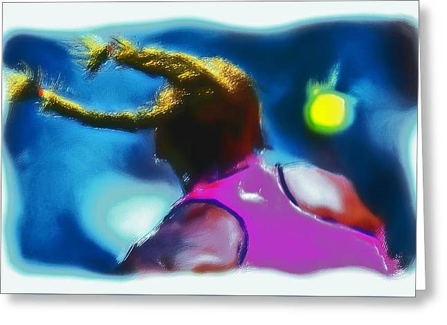 French Open Paintings Greeting Cards - Serena Smash Greeting Card by Brian Reaves