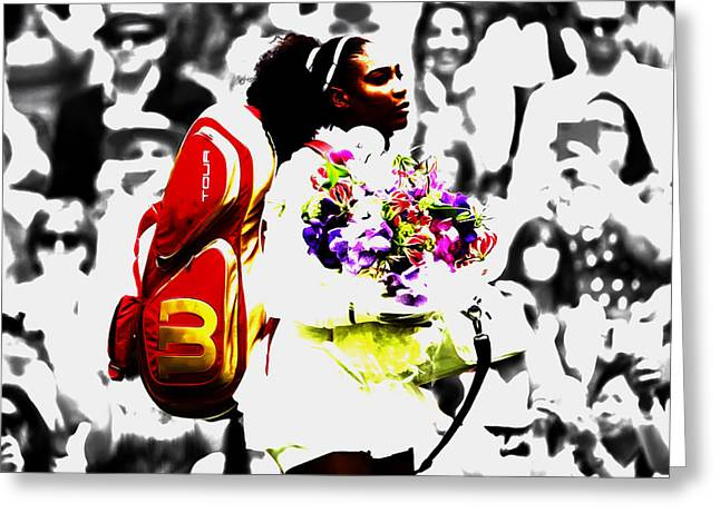 Serena Williams 2f Greeting Card by Brian Reaves