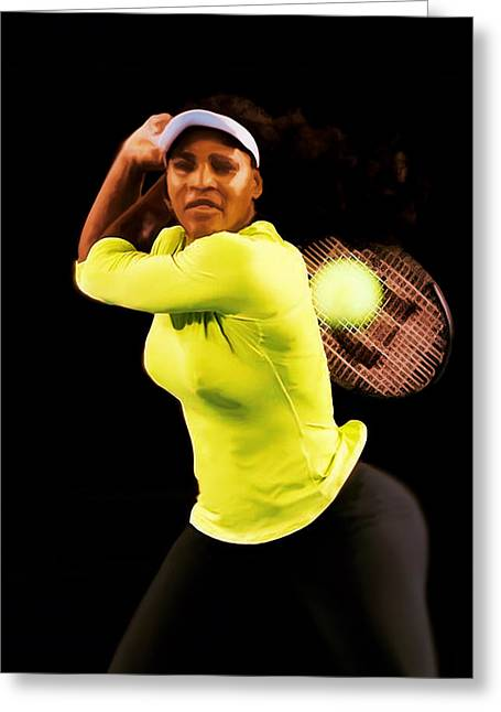 Us Open Mixed Media Greeting Cards - Serena Williams Bamm Greeting Card by Brian Reaves