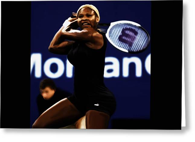 Us Open Mixed Media Greeting Cards - Serena Williams Catsuit 03b Greeting Card by Brian Reaves