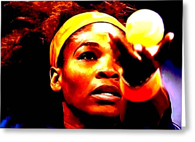 Us Open Mixed Media Greeting Cards - Serena Williams First Round Greeting Card by Brian Reaves