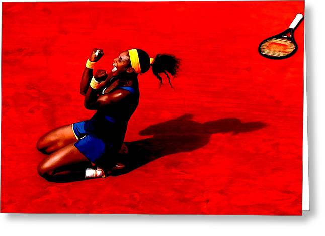 Us Open Mixed Media Greeting Cards - Serena Williams French Open Victory Greeting Card by Brian Reaves