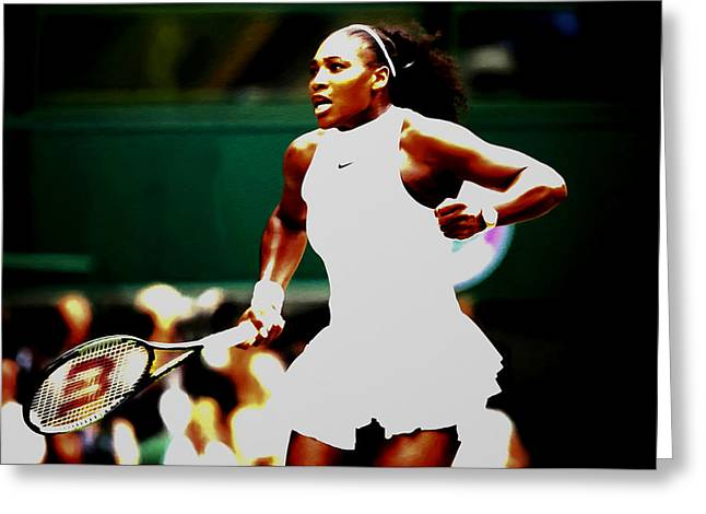 Serena Williams Making History Greeting Card by Brian Reaves