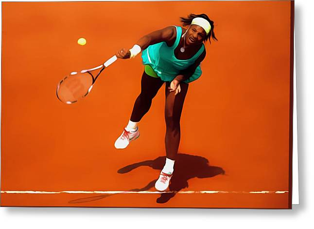 Nike Greeting Cards - Serena Williams Match Point 2c Greeting Card by Brian Reaves