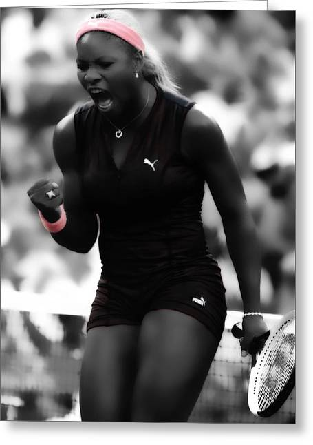 Serena Williams On Fire Greeting Card by Brian Reaves