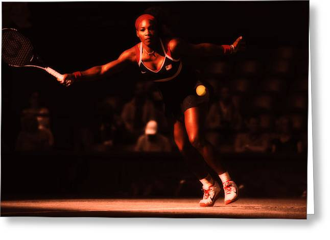 Serena Williams Greeting Cards - Serena Williams Passion Greeting Card by Brian Reaves