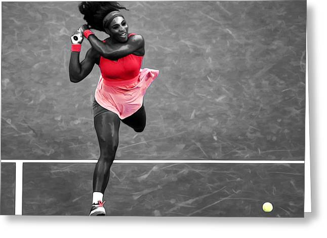 Serena Williams Strong Return Greeting Card by Brian Reaves