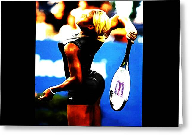 Us Open Mixed Media Greeting Cards - Serena Williams Work of Art Greeting Card by Brian Reaves