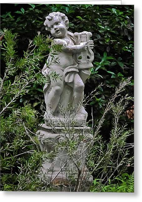 Historic Statue Greeting Cards - Serenade in the Garden Greeting Card by DigiArt Diaries by Vicky B Fuller