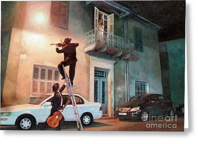 Forties Paintings Greeting Cards - Serenade Greeting Card by Theo Michael