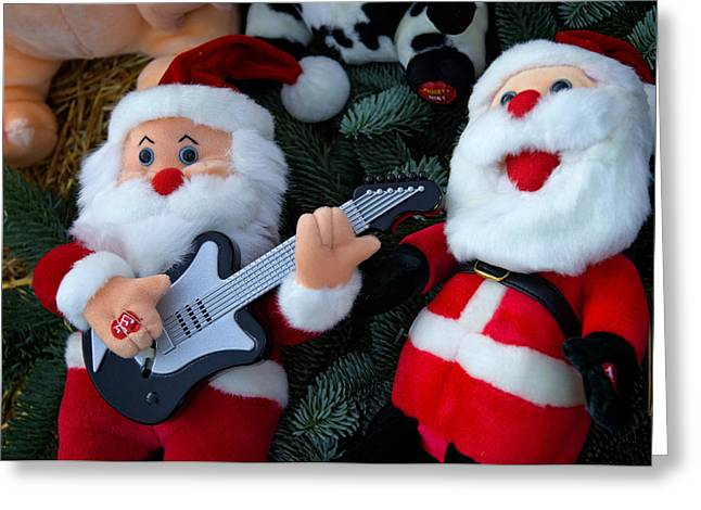 Winter Travel Greeting Cards - Serenading Santas Practice Carols Greeting Card by Keenpress