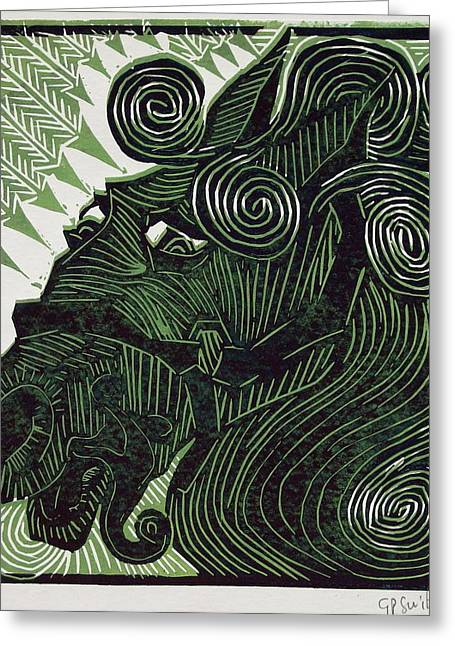 Linocut Greeting Cards - Serendipity Greeting Card by Gerald Paul Swift