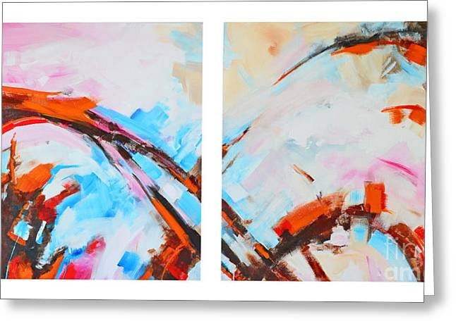 Geometric Design Greeting Cards - Serendipity No.1 and 2 Abstract Painting Greeting Card by Patricia Awapara