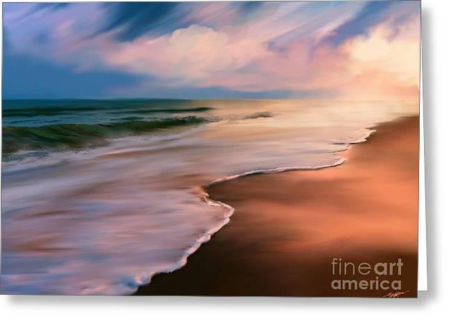 Serene Beach At Sunrise Greeting Card by Anthony Fishburne