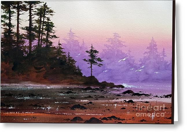 Sunset Greeting Cards Paintings Greeting Cards - Serene Coast Sunset Greeting Card by James Williamson