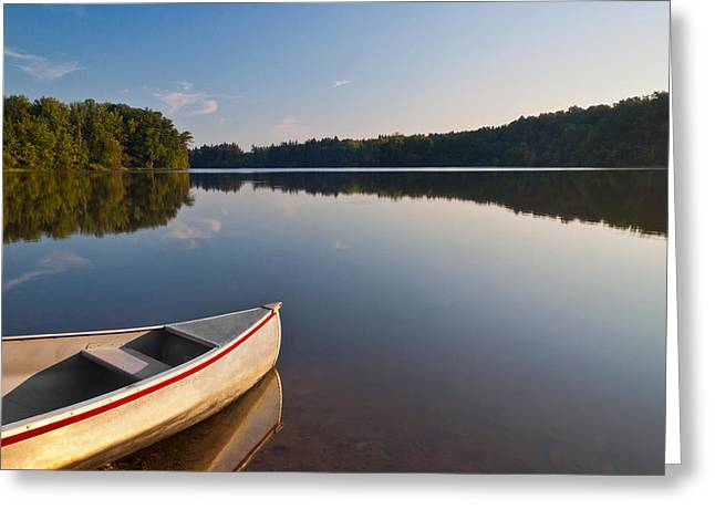 Canoe Photographs Greeting Cards - Serene Morning Greeting Card by Dale Kincaid