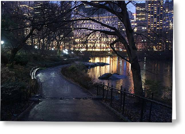 Pond In Park Greeting Cards - Serene path near the pond Greeting Card by Elena Perelman