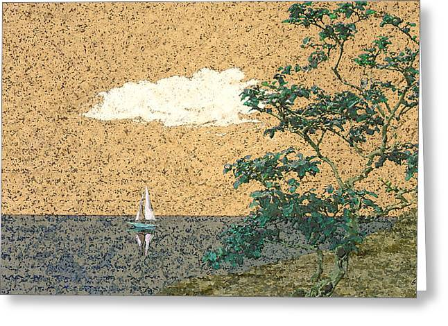 Primitive Mixed Media Greeting Cards - Serene Sea Greeting Card by Gordon Beck