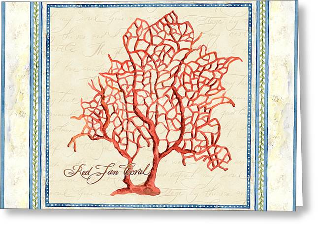 Serene Shores - Red Fan Coral Greeting Card by Audrey Jeanne Roberts