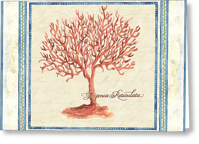 Spa work Mixed Media Greeting Cards - Serene Shores - Red Tree Coral Gorgonia Reticulata  Greeting Card by Audrey Jeanne Roberts