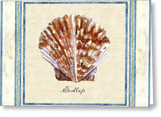 Spa Artwork Greeting Cards - Serene Shores - Scallop Shell Greeting Card by Audrey Jeanne Roberts