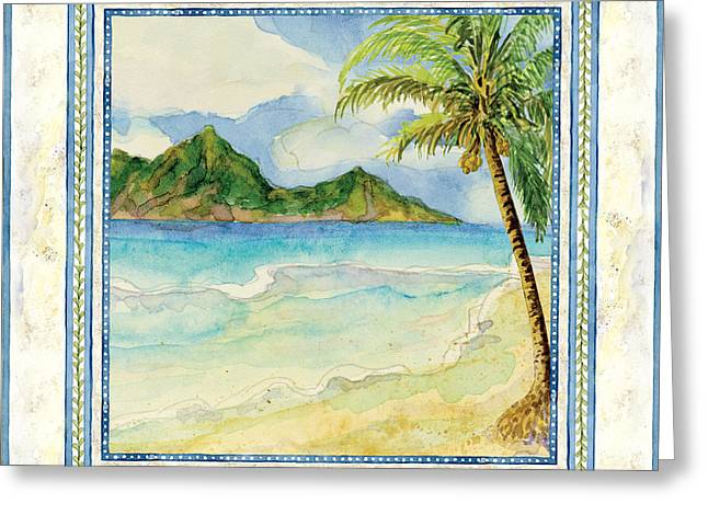 Spa work Mixed Media Greeting Cards - Serene Shores - Tropical Island Beach Palm Paradise Greeting Card by Audrey Jeanne Roberts