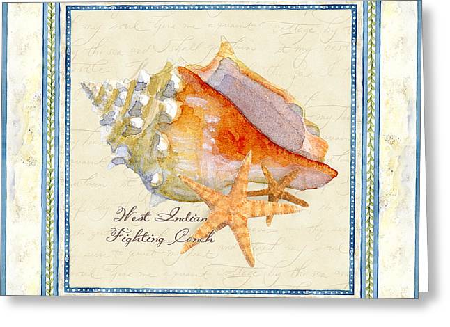 Spa Artwork Greeting Cards - Serene Shores - West Indies Fighting Conch n Starfish Greeting Card by Audrey Jeanne Roberts