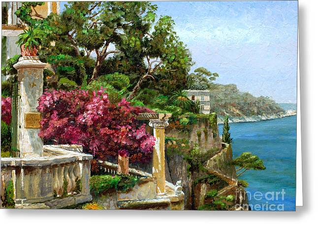 Calm Waters Paintings Greeting Cards - Serene Sorrento Greeting Card by Trevor Neal