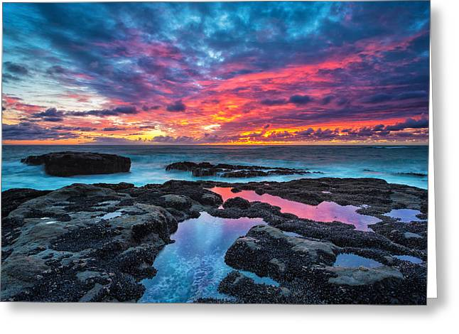 Sunset Seascape Greeting Cards - Serene Sunset 16x20 Greeting Card by Robert Bynum