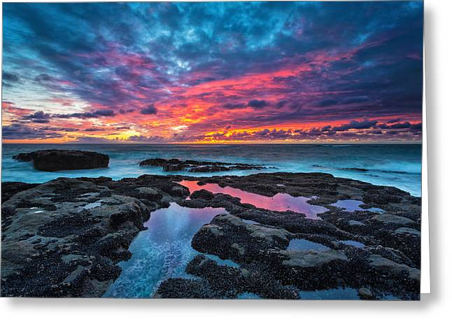 Tide Pools Greeting Cards - Serene Sunset Greeting Card by Robert Bynum