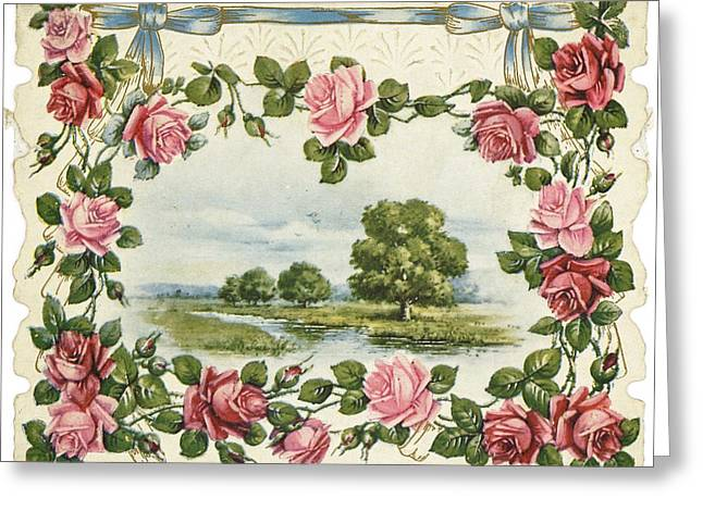 Border Greeting Cards - Serene Waterside Landscape In Rose Greeting Card by Gillham Studios