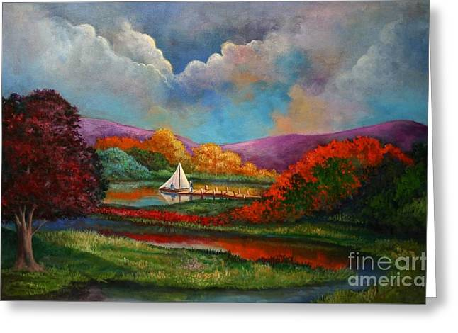Randy Burns Greeting Cards - Serenely Sailing Greeting Card by Randy Burns